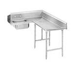 "Advance Tabco DTSK7072R 71"" R-L Korner Soil Dishtable - Crossrails, Stainless Legs, 14-ga 304-Stainless"