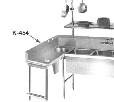 Advance Tabco K454 Drainboard/Sink Sidesplash