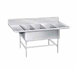 "Advance Tabco K7-3-3024-24RL 138"" 3-Compartment Sink w/ 30""L x 24""W Bowl, 14"" Deep"