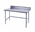 "Advance Tabco TSKG-3611 132"" 16-ga Work Table w/ Open Base & 430-Series Stainless Top, 5"" Backsplash"