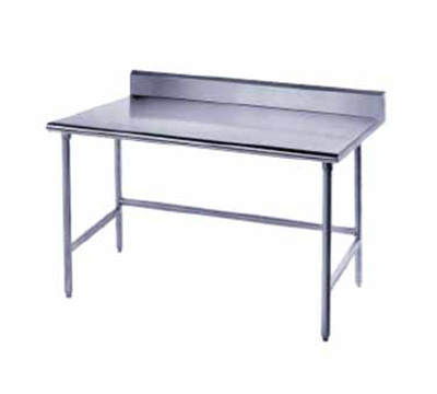 "Advance Tabco TSKG-3010 120"" 16-ga Work Table w/ Open Base & 430-Series Stainless Top, 5"" Backsplash"
