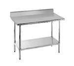 "Advance Tabco KSLAG-308 96"" 16-ga Work Table w/ Undershelf & 430-Series Stainless Top, 5"" Backsplash"