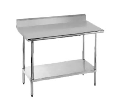 "Advance Tabco KMSLAG-248 96"" 16-ga Work Table w/ Undershelf & 304-Series Stainless Top, 5"" Backsplash"
