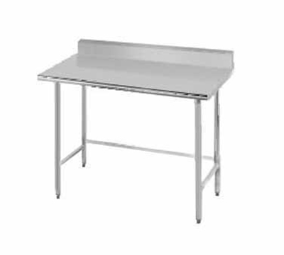 "Advance Tabco TKMS-249 108"" Work Table - 5"" Rear Splash, Bullet Feet, 24"" W, 16-ga 304-Stainless"