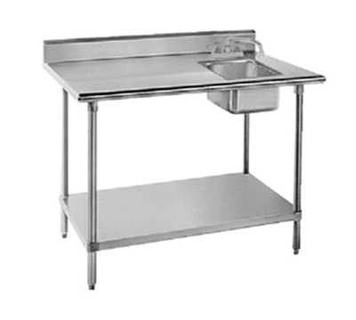 "Advance Tabco KMS-11B-305R 60"" Work Table - Right Sink, 5"" Backsplash, 30"" W, 16-ga 304-Stainless"