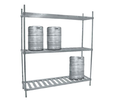 "Advance Tabco KR-60 60"" Aluminum Keg Rack - 2-Shelves, Holds 6-Kegs"