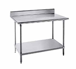 "Advance Tabco KLG-306 72"" 14-ga Work Table w/ Undershelf & 304-Series Stainless Top, 5"" Backsplash"