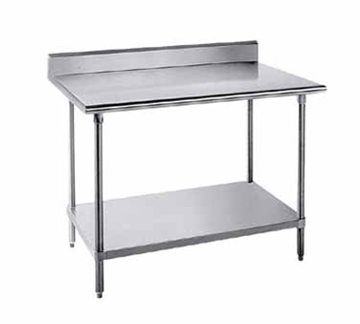 "Advance Tabco KMS-248 96"" 16-ga Work Table w/ Undershelf & 304-Series Stainless Top, 5"" Backsplash"