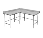 "Advance Tabco KTMS-309 108"" L Shape Work Table - 5"" Backsplash, 30"" W, 14-ga 304 Stainless"