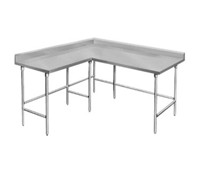 "Advance Tabco KTMS-308 96"" L Shape Work Table - 5"" Backsplash, 30"" W, 14-ga 304 Stainless"