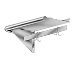 "Advance Tabco PS-15-120 120"" Shelf w/ Pot Rack - 9-Hooks, 15"" W, 18-ga 430-Stainless"