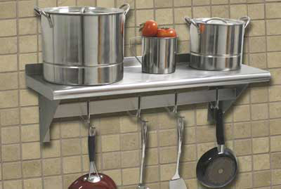 "Advance Tabco PS1236RE 36"" Residential Shelf w/ Pot Rack - 6-Hooks, 12"" W, 18-ga 430-Stainless"
