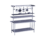"Advance Tabco PT-18-48 48"" Table Mount Shelf - 1-Deck, Mid-Mount, 18"" W, Stainless"