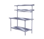 "Advance Tabco PT-12R-132 132"" Table Mount Shelf - 1-Deck, Rear-Mount, 12"" W, Stainless"