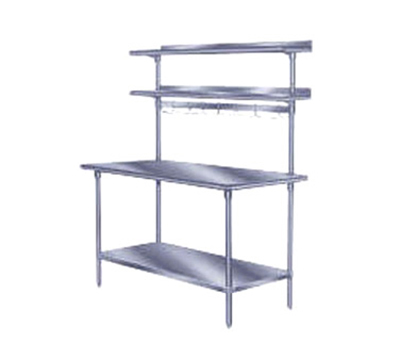 "Advance Tabco PT-18R-132 132"" Table Mount Shelf - 1-Deck, Rear-Mount, 18"" W, Stainless"