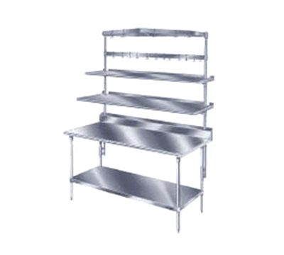 "Advance Tabco PT-12S-132 132"" Table Mount Shelf - 1-Deck, Splash-Mount, 12"" W, Stainless"
