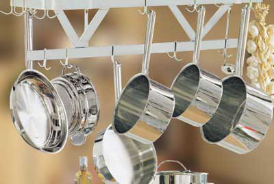 "Advance Tabco SC-72RE 72"" Residential Ceiling Hung Pot Rack - (18) Double Hooks, Stainless"