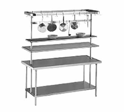 "Advance Tabco AUR-84 84"" Adjustable Table Mount Utensil Rack - 9-Pot Hooks, Stainless"