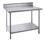 "Advance Tabco SKG-244RE 48"" Chef Table - 5"" Backsplash, Bullet Feet, 24"" W, 16-ga 430-Stainless"