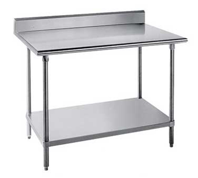 "Advance Tabco SKG-304RE 48"" Chef Table - 5"" Backsplash, Bullet Feet, 30"" W, 16-ga 430-Stainless"
