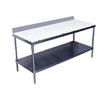 "Advance Tabco SPS-246 72"" Poly Top Work Table w/  6"" Backsplash & 5/8"" Top, Stainless Base, 24""D"