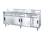 "Advance Tabco SDRC-308 96"" Enclosed Work Table w/ Sliding Doors & 5"" Backsplash, 30""D"