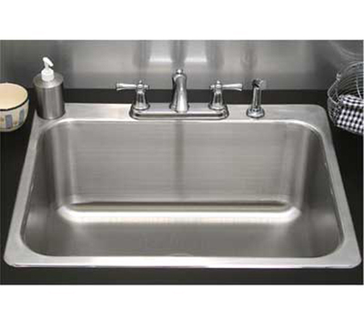 "Advance Tabco SS-1-1919-7RE Residential Drop-In Sink - (1) 16x14x7.5"" Bowl, 18-ga 304-Stainless"