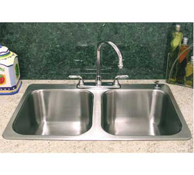 "Advance Tabco SS-2-3321-12RE Residential Drop-In Sink - (2) 14x16x12"" Bowl, 18-ga 304-Stainless"