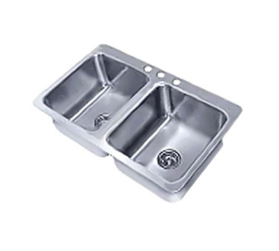 "Advance Tabco SS-2-4521-7 Drop-In Sink - (2) 20x16x7.5"" Bowl, 18-ga 304-Stainless"