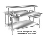 "Advance Tabco SS-489 108"" 14-ga Work Table w/ Undershelf & 304-Series Stainless Flat Top"