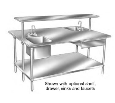 "Advance Tabco GLG-489 108"" Work Table - Galvanized Frame, 48"" W, 14-ga 304-Stainless"