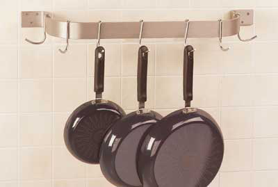 "Advance Tabco SW1-48RE 48"" Residential Wall Mount Pot Rack - 6-Double Hooks, Stainless"
