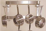 "Advance Tabco SW-48RE 48"" Residential Wall Mount Pot Rack - 12-Double Hooks, Double Bar, Stainless"