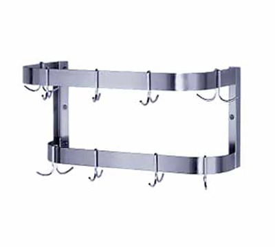 "Advance Tabco SW-48 48"" Wide Wall Mount Pot Rack - 12-Double Hooks, Double Bar, Stainless"