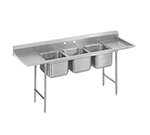 "Advance Tabco T9-3-54-18L-X 91"" 3-Compartment Sink w/ 16""L x 20""W Bowl, 12"" Deep"