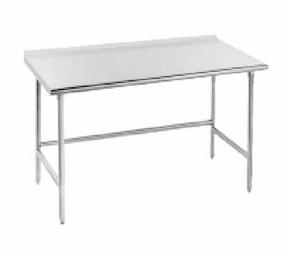 "Advance Tabco TFSS-3010 120"" 14-ga Work Table w/ Open Base & 304-Series Stainless Top, 1.5"" Backsplash"