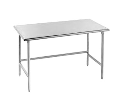 "Advance Tabco TGLG-249 108"" Work Table - Galvanized Legs, 24"" W, 14-ga 304-Stainless"
