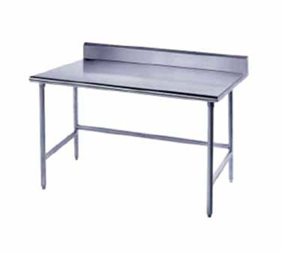 "Advance Tabco TKSS-248 96"" 14-ga Work Table w/ Open Base & 304-Series Stainless Top, 5"" Backsplash"