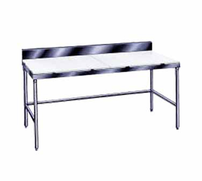 "Advance Tabco TSPS-249 108"" Poly Top Work Table w/  6"" Backsplash & 5/8"" Top, Stainless Base, 24""D"