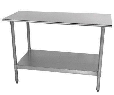 "Advance Tabco TT-248 96"" 18-ga Work Table w/ Undershelf & 430-Series Stainless Flat Top"