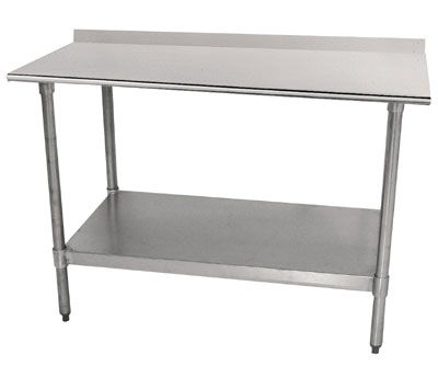 "Advance Tabco TTF-244 48"" 18-ga Work Table w/ Undershelf & 430-Series Stainless Top, 1.5"" Backsplash"