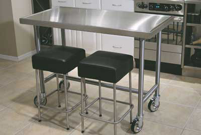 "Advance Tabco TVSS-304RE 48"" Residential Chef Table - Bullet Feet, Non-Drip Edge, 30"" W, 14-ga 304-Stainless Top"