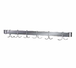 "Advance Tabco UB30 Leg Mounted Pot Rack for 30"" Tables - Stainless Bar w/ (6) Double Prong Hooks"