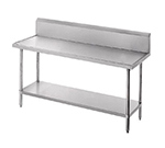 "Advance Tabco VKG-3010 120"" 14-ga Work Table w/ Undershelf & 304-Series Stainless Marine Top, 10"" Backsplash"