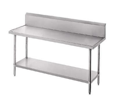 "Advance Tabco VKG-249 108"" 14-ga Work Table w/ Undershelf & 304-Series Stainless Marine Top, 10"" Backsplash"