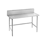 "Advance Tabco TVKS-306 72"" 14-ga Work Table w/ Open Base & 304-Series Stainless Marine Top, 10"" Backsplash"