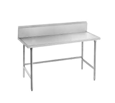 "Advance Tabco TVKG-249 108"" 14-ga Work Table w/ Open Base & 304-Series Stainless Marine Top, 10"" Backsplash"