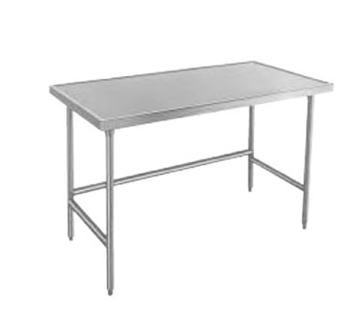 "Advance Tabco TVSS-309 108"" Work Table - Bullet Feet, Non-Drip Edge, 30"" W, 14-ga 304-Stainless Top"