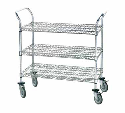 "Advance Tabco WUC-1842R Wire Utility Cart - (3) Shelf, 18x42"", Rubber Casters, Chrome Finish"