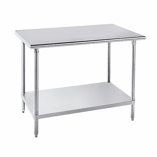 "Advance Tabco AG-249 108"" 16-ga Work Table w/ Undershelf & 430-Series Stainless Flat Top"